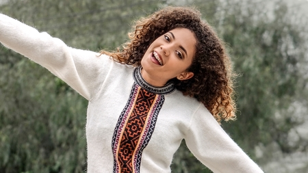 Overjoyed Cute Female Wearing Winter Clothes