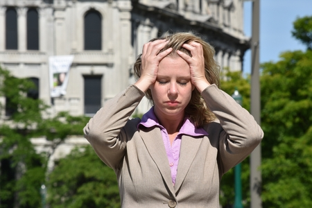 Anxious Adult Blonde Business Woman Wearing Suit Archivio Fotografico