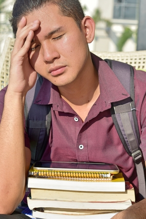 Anxious Male Student Stock Photo - 112372678