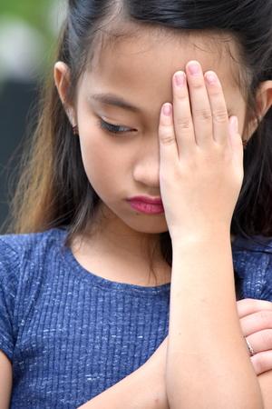 Depressed Petite Diverse Person 写真素材