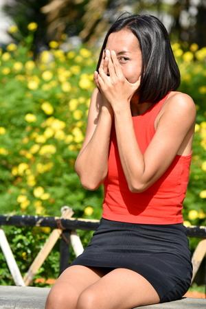 Ashamed Attractive Filipina Person