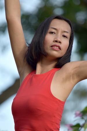 Stretching Asian Female Banco de Imagens