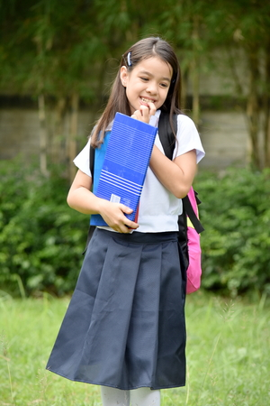 Shy School Girl With Notebooks Stock Photo