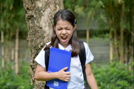 Stressful Prep Filipina Student Child Stock Photo