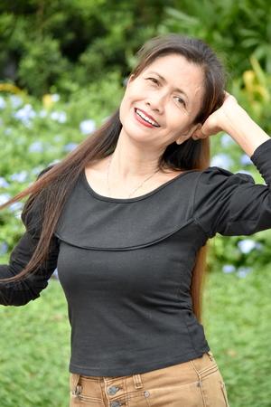 Female Senior With Long Hair