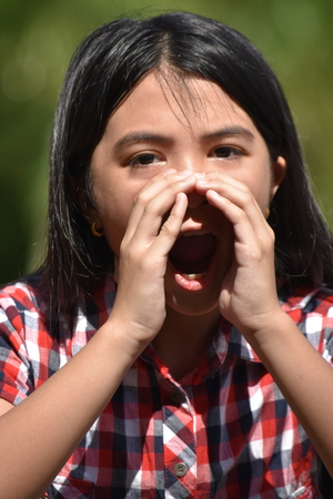 Cute Asian Female Yelling