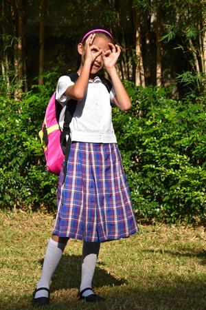 Girl Student Searching Wearing School Uniform