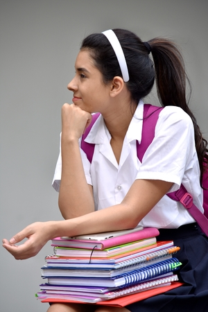 Thinking Cute Colombian Student Teenager School Girl
