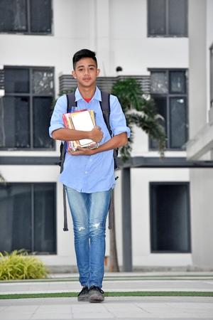 Unemotional Male Student Walking