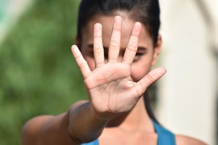 Female Gesturing Stop