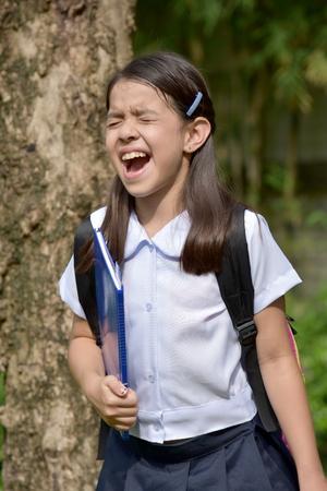 Stressful Girl Student Wearing School Uniform