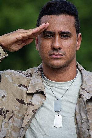 Saluting Good Looking Male Soldier