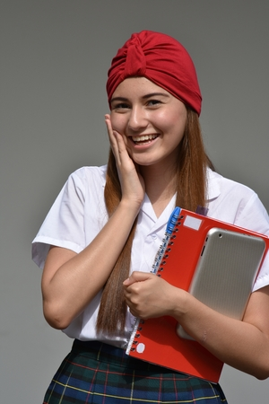 Happy Exchange Person Wearing School Uniform