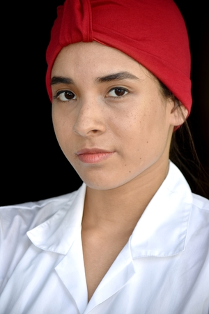 Serious Teenager Girl Wearing Turban Фото со стока