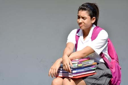 Unhappy Student Teenager School Girl 스톡 콘텐츠