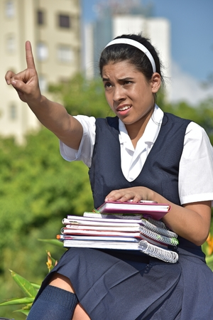 Colombian Girl Student Pointing