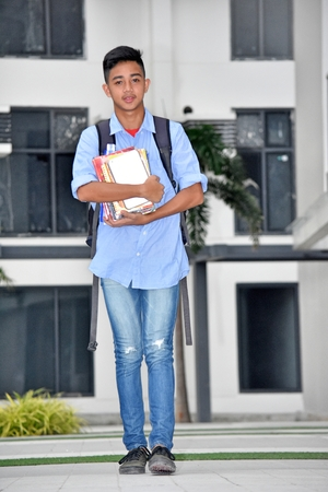 Asian Boy Student And Happiness Walking Stock Photo