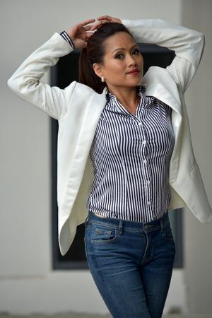 Slim Youthful Filipina Female Stock Photo