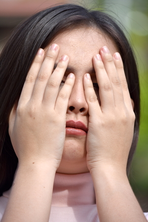 Ashamed Youthful Diverse Female Stock Photo - 115117427