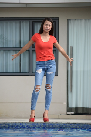 Slim Female Woman Standing 写真素材