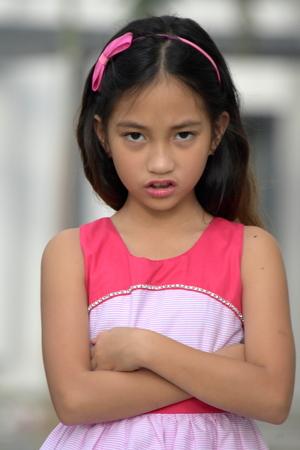Stubborn Filipina Girl Youth Stock Photo