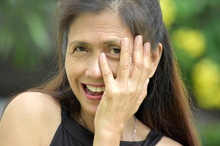 Female Senior And Shyness