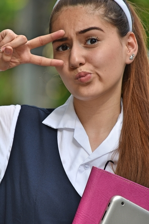 Catholic School Girl Portrait Wearing Uniform Stock Photo