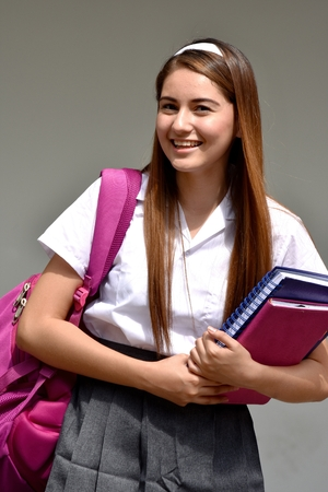 Catholic Colombian Girl Student And Happiness Wearing School Uniform