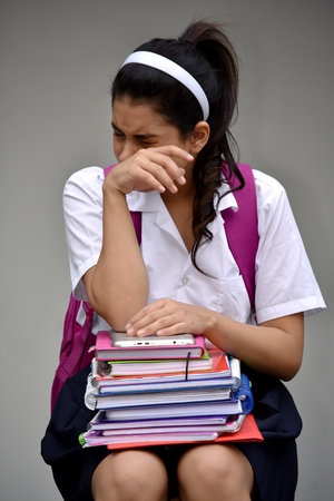 Crying Student Teenager School Girl Wearing Uniform With Notebooks