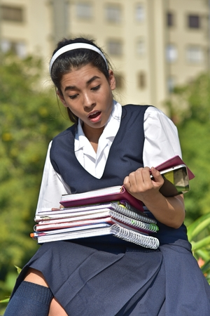 School Girl Reading With Notebooks