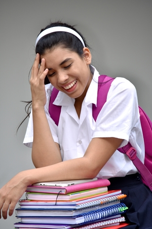 Cute School Girl Student Teenager Laughing