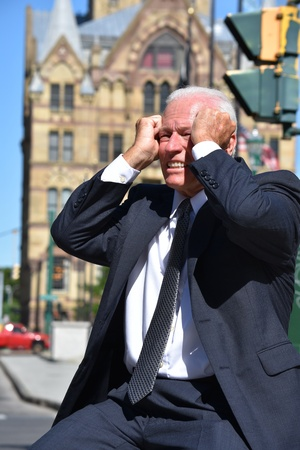 Stressed Business Man Investor Downtown Stock Photo