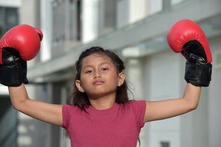 Serious Minority Female Boxer