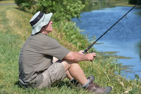 Sitting Old Male Fisherman With Fishing Rod Fishing Stock fotó