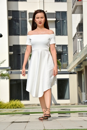 Serious Female Woman Walking Stock fotó