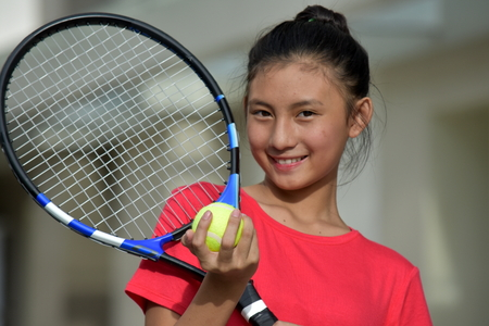 Girl Tennis Player And Happiness