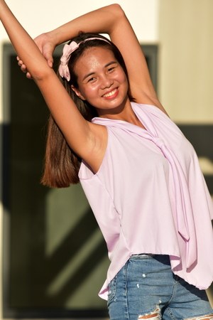 A Minority Female Stretching Banco de Imagens