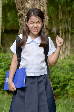Young Filipina Female Student And Anger