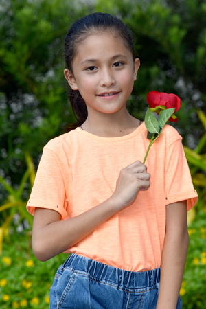 Girl And Happiness With A Rose