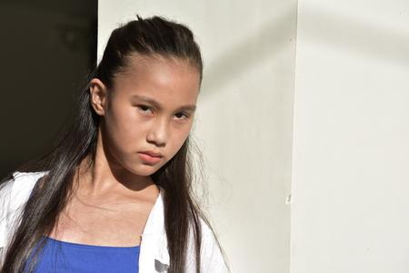 Serious Filipina Teenage Female Stock Photo