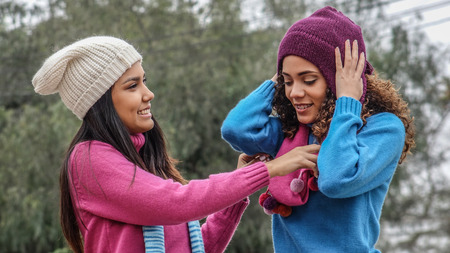 Two Female Friends During Cold Weather