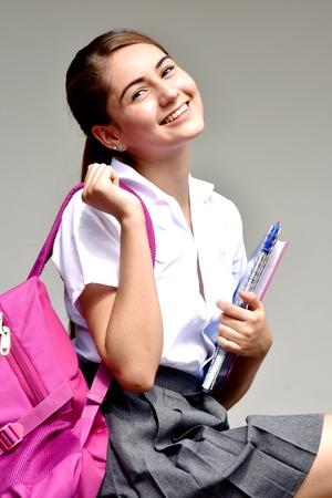 Smiling Colombian School Girl Wearing Skirt