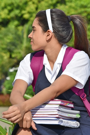 Colombian School Girl With Ponytail Wearing School Uniform With Notebooks Stock Photo