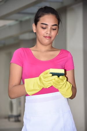 Cute Minority Girl Cleaning