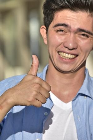 Person With Thumbs Up Фото со стока