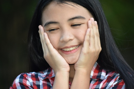 Asian Girl And Happiness Stock Photo