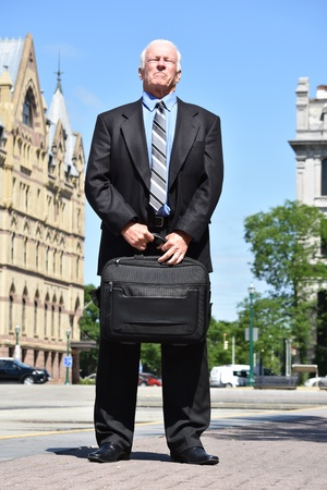Tall Business Man Investor Wearing Suit Standing