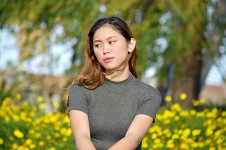 Pretty Asian Adult Female Alone Stock Photo