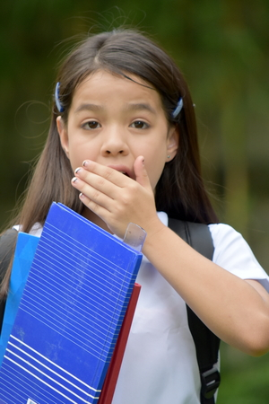 Shocked Young Filipina Student Child Wearing Uniform 写真素材