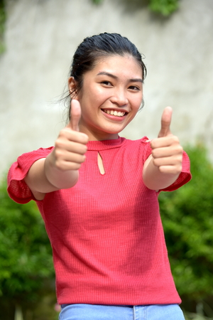 Youth With Thumbs Up 免版税图像